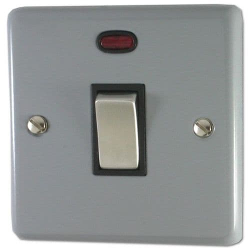 G&H CLG326 Standard Plate Light Grey 1 Gang 20 Amp Double Pole Switch & Neon